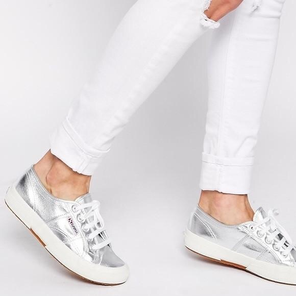Superga Shoes   Superga Silver Sneakers